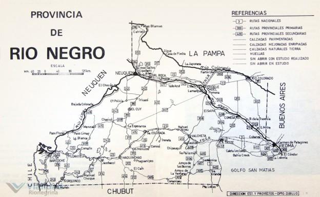 Red Vial de Río Negro - mapa 1981